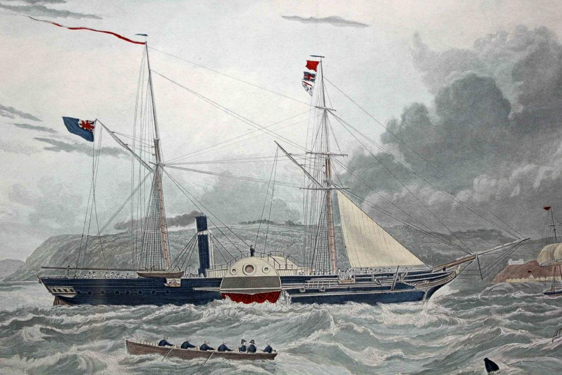 Pair of 19th Century Style Steam Ship Prints - 4