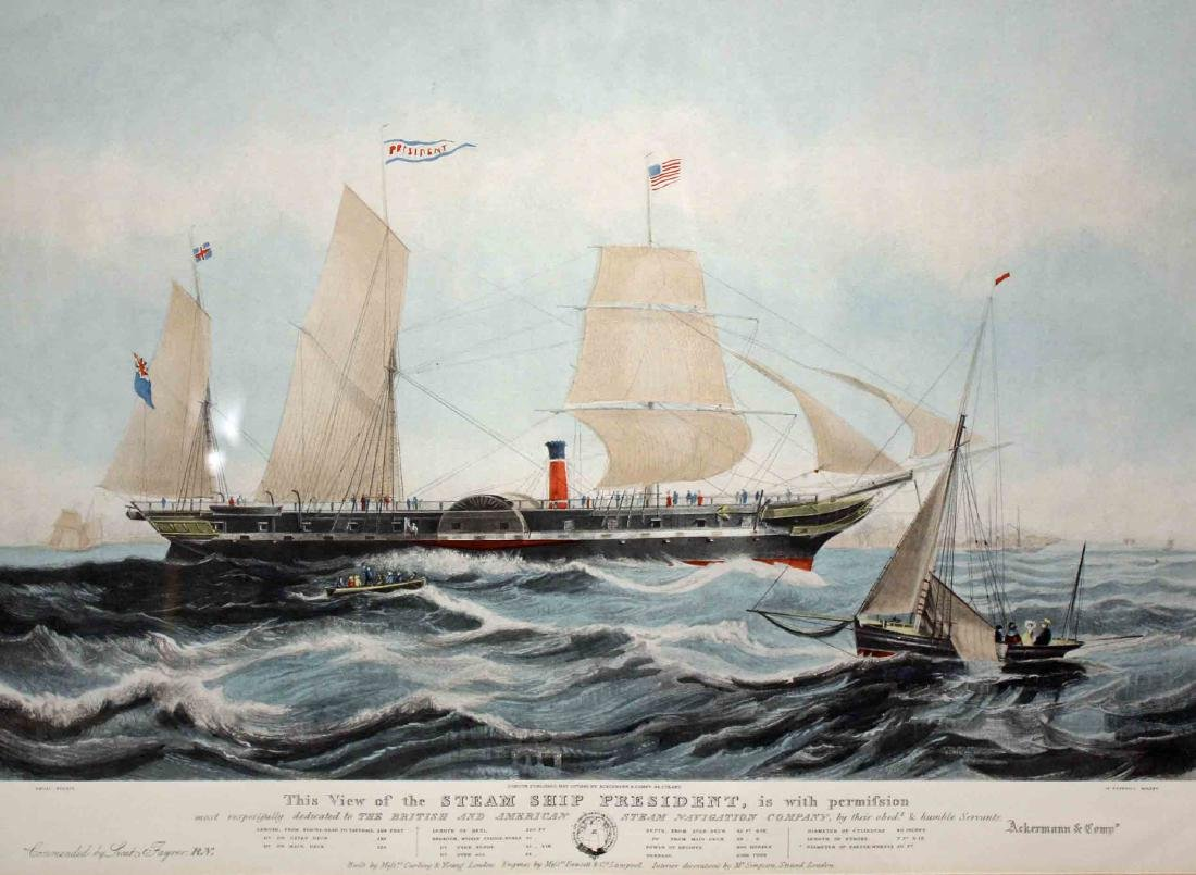 Pair of 19th Century Style Steam Ship Prints - 7