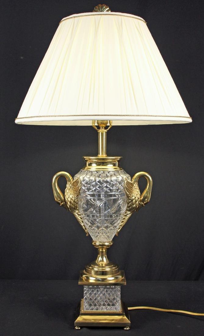 Maitland Smith Leaded Crystal & Brass Swans Lamp