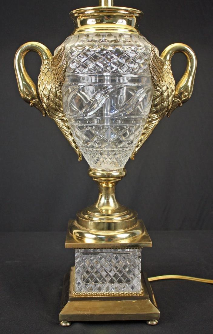 Maitland Smith Leaded Crystal & Brass Swans Lamp - 2