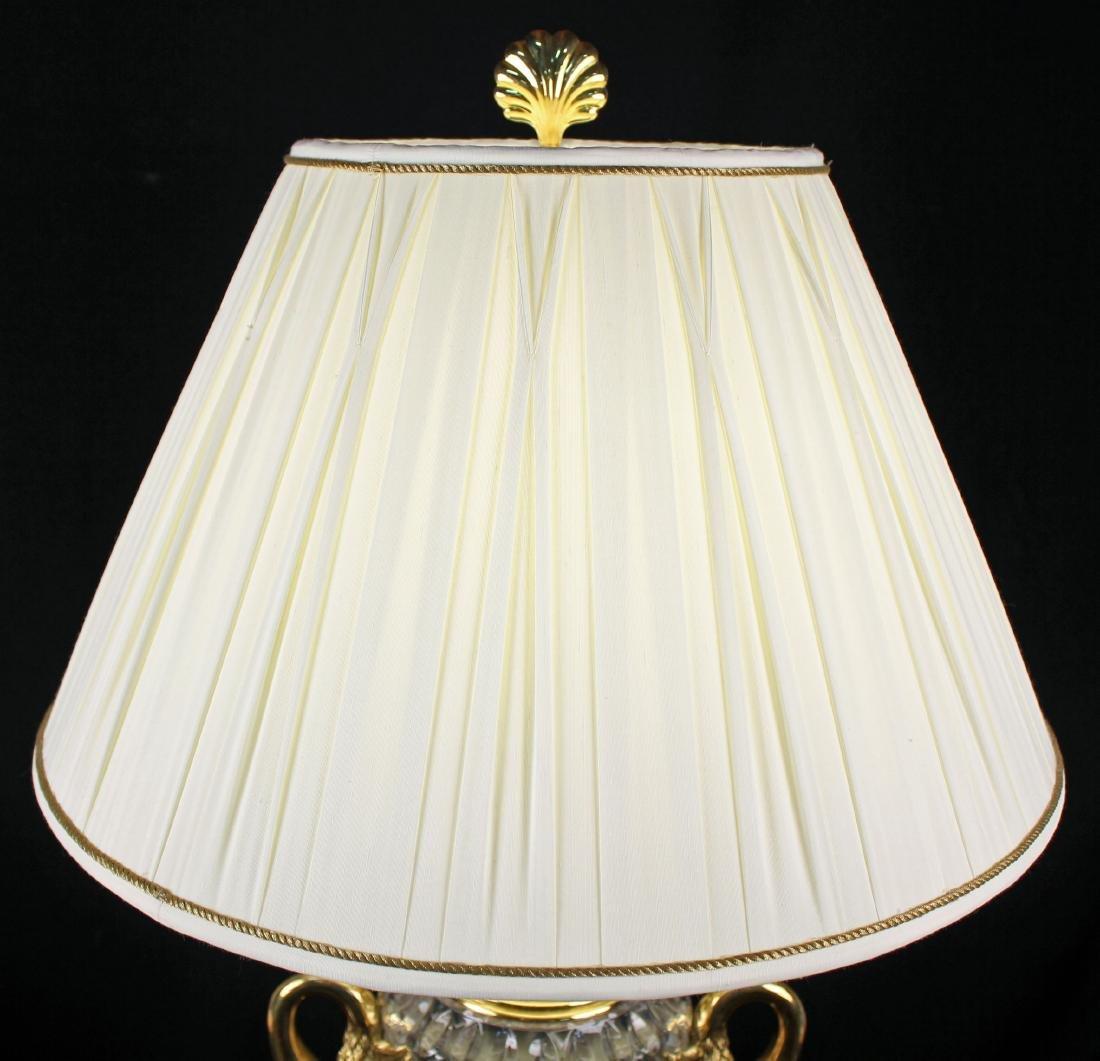 Maitland Smith Leaded Crystal & Brass Swans Lamp - 8