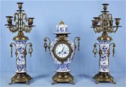 3 Piece Blue  White Porcelain Mantel Clock Set