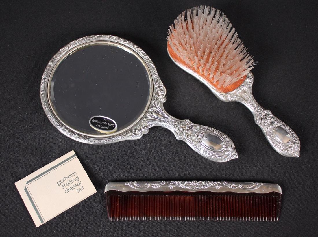 Gorham Sterling Silver Vanity Set w/ Mirror, Brush - 4