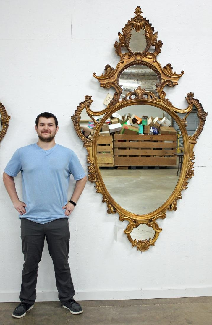 Pair of La Barge Italian Rococo Style Oval Mirrors - 5