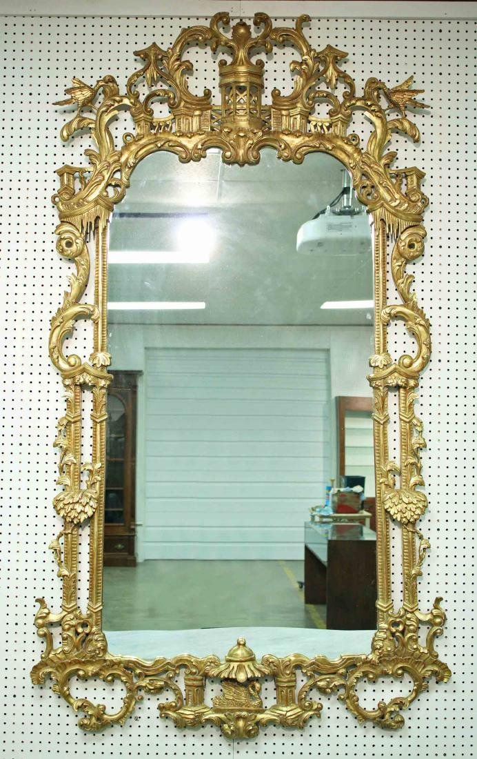 Chinoiserie Chippendale Style Giltwood Wall Mirror