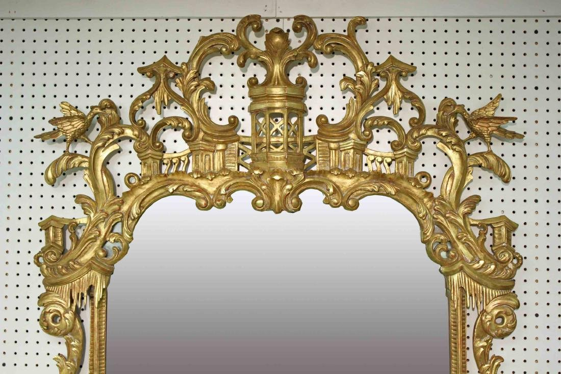 Chinoiserie Chippendale Style Giltwood Wall Mirror - 2