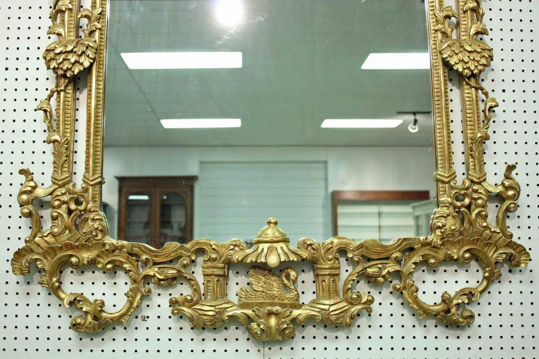 Chinoiserie Chippendale Style Giltwood Wall Mirror - 3