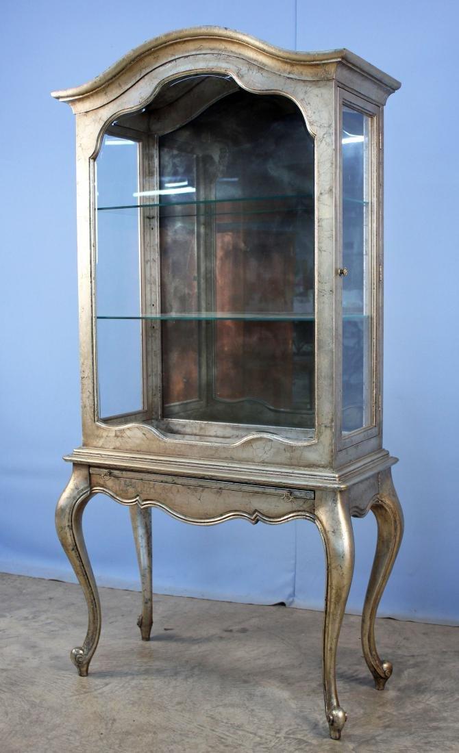 Weiman Furniture Antique Silver Leaf Curio Cabinet