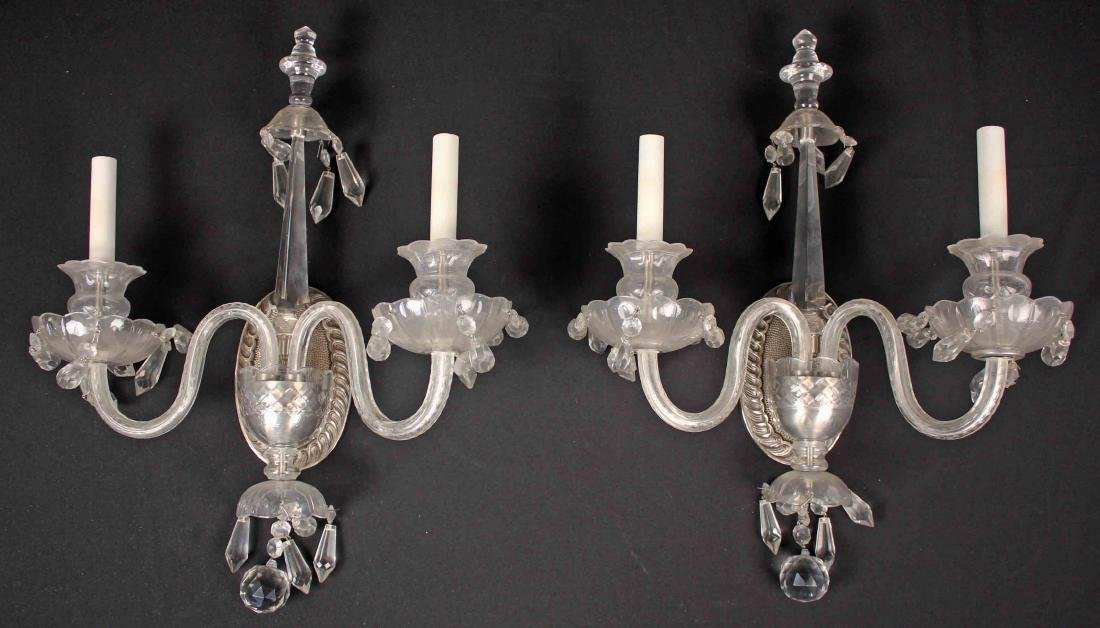 Pair of Wall Sconces with Crystal Prisms