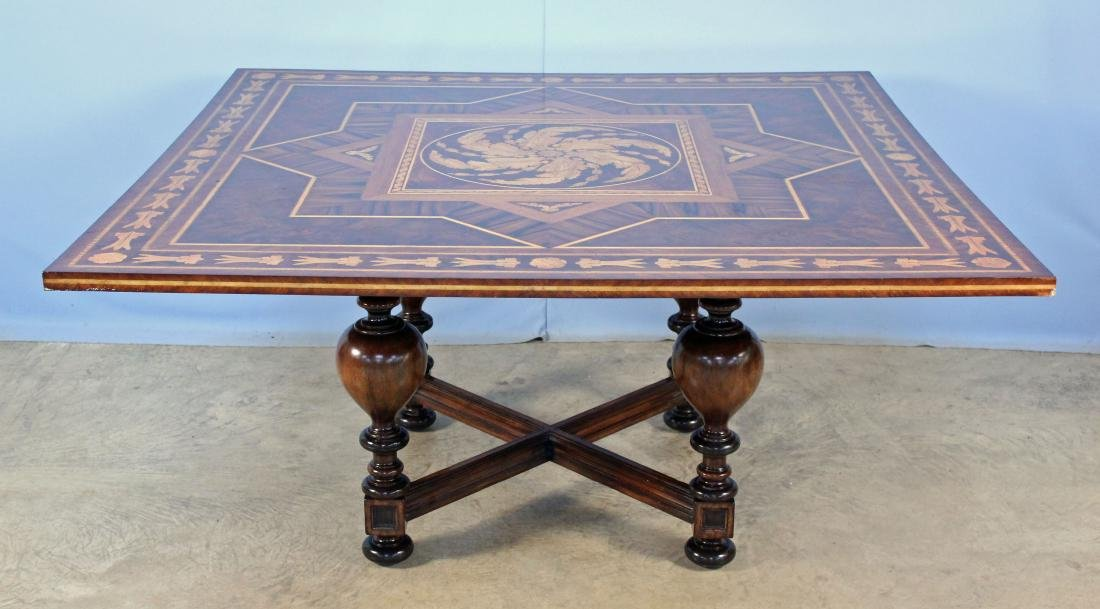 Maitland Smith Mahogany Inlaid Sq. Breakfast Table