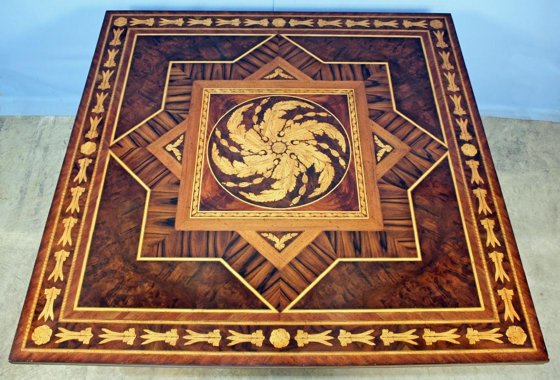 Maitland Smith Mahogany Inlaid Sq. Breakfast Table - 2