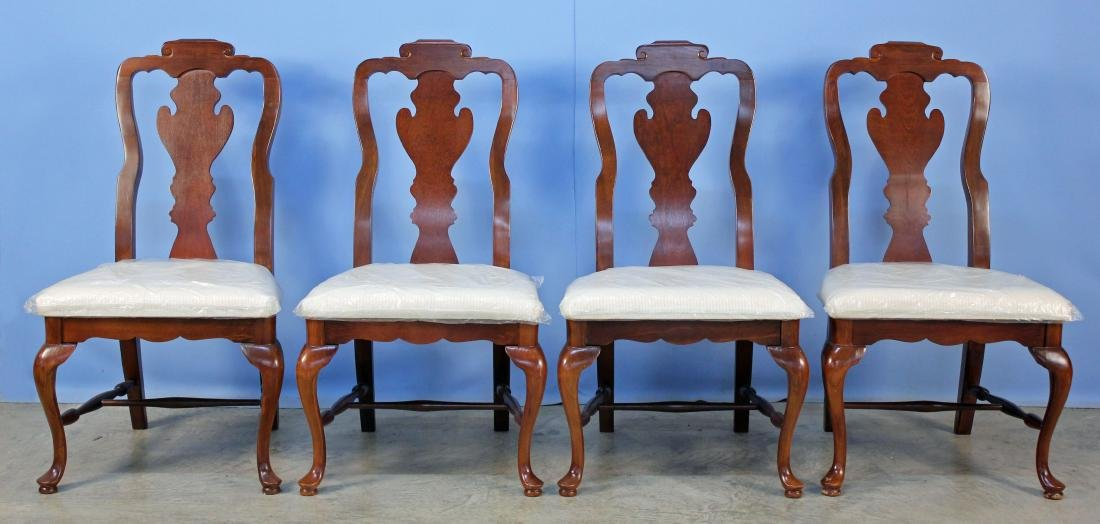 Four Basset Queen Anne Style Cherry Finish Chairs