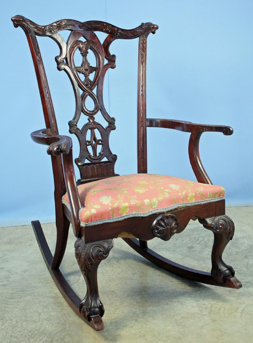 Chippendale Style Carved Mahogany Rocking Chair
