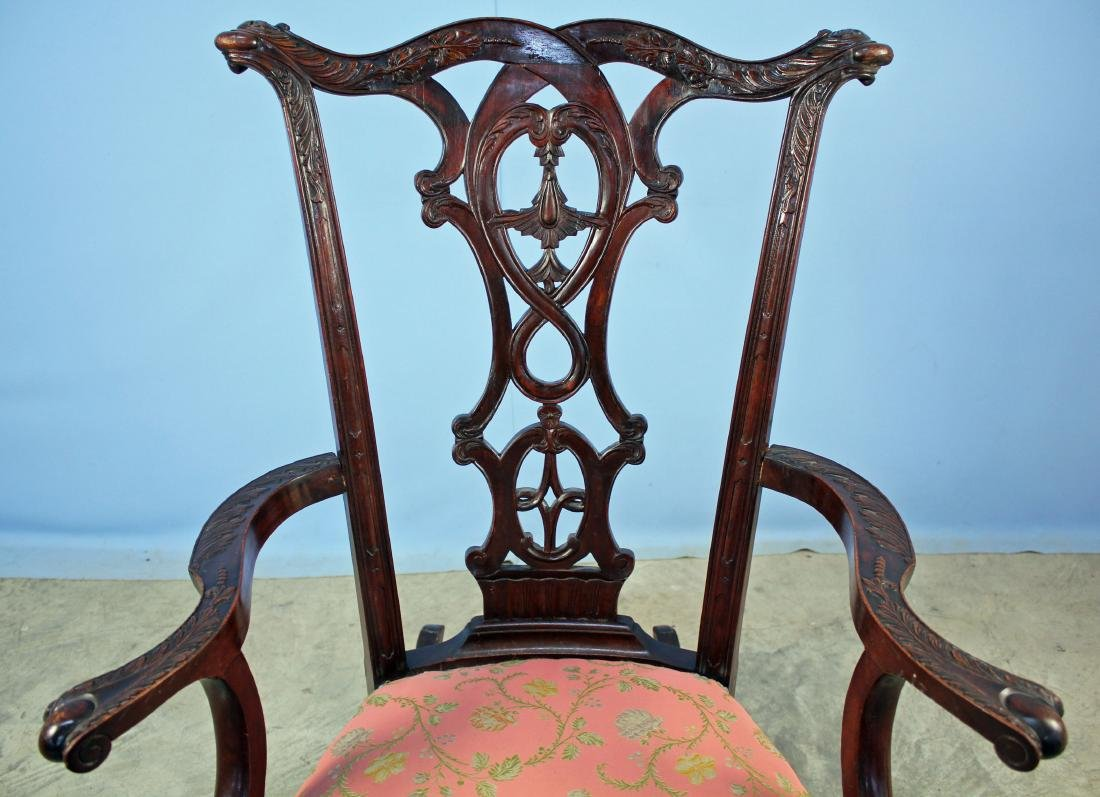 Chippendale Style Carved Mahogany Rocking Chair - 2