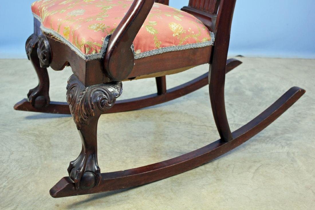 Chippendale Style Carved Mahogany Rocking Chair - 3
