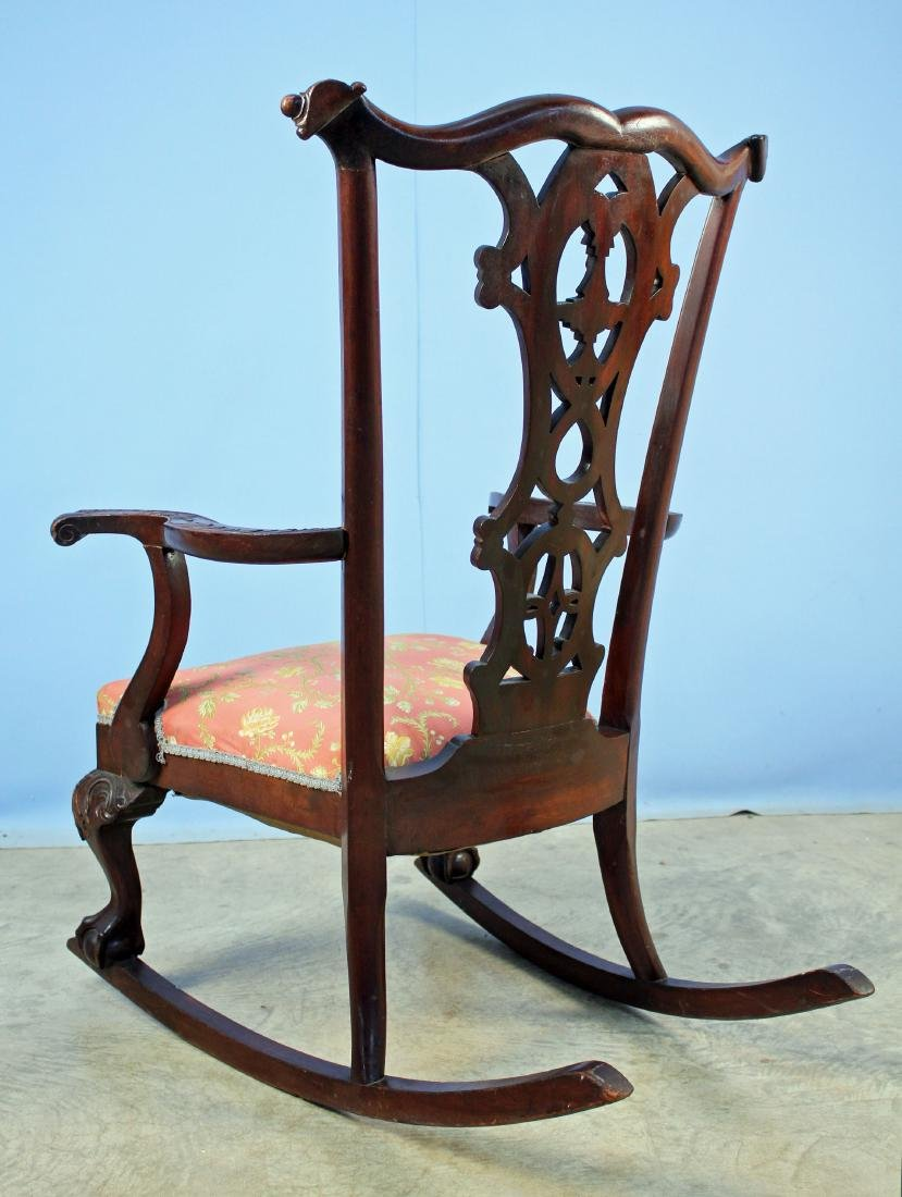 Chippendale Style Carved Mahogany Rocking Chair - 4