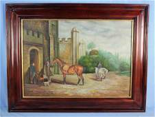 Modern Oil on Board English Style Hunt Scene Paint
