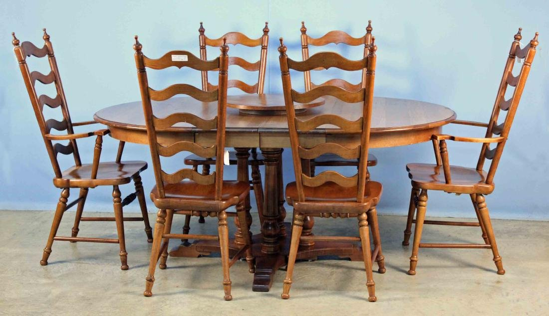 Tell City Solid Maple Table, 6 Chairs