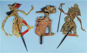 Three Indonesian 19th - 20th C. Shadow Puppets