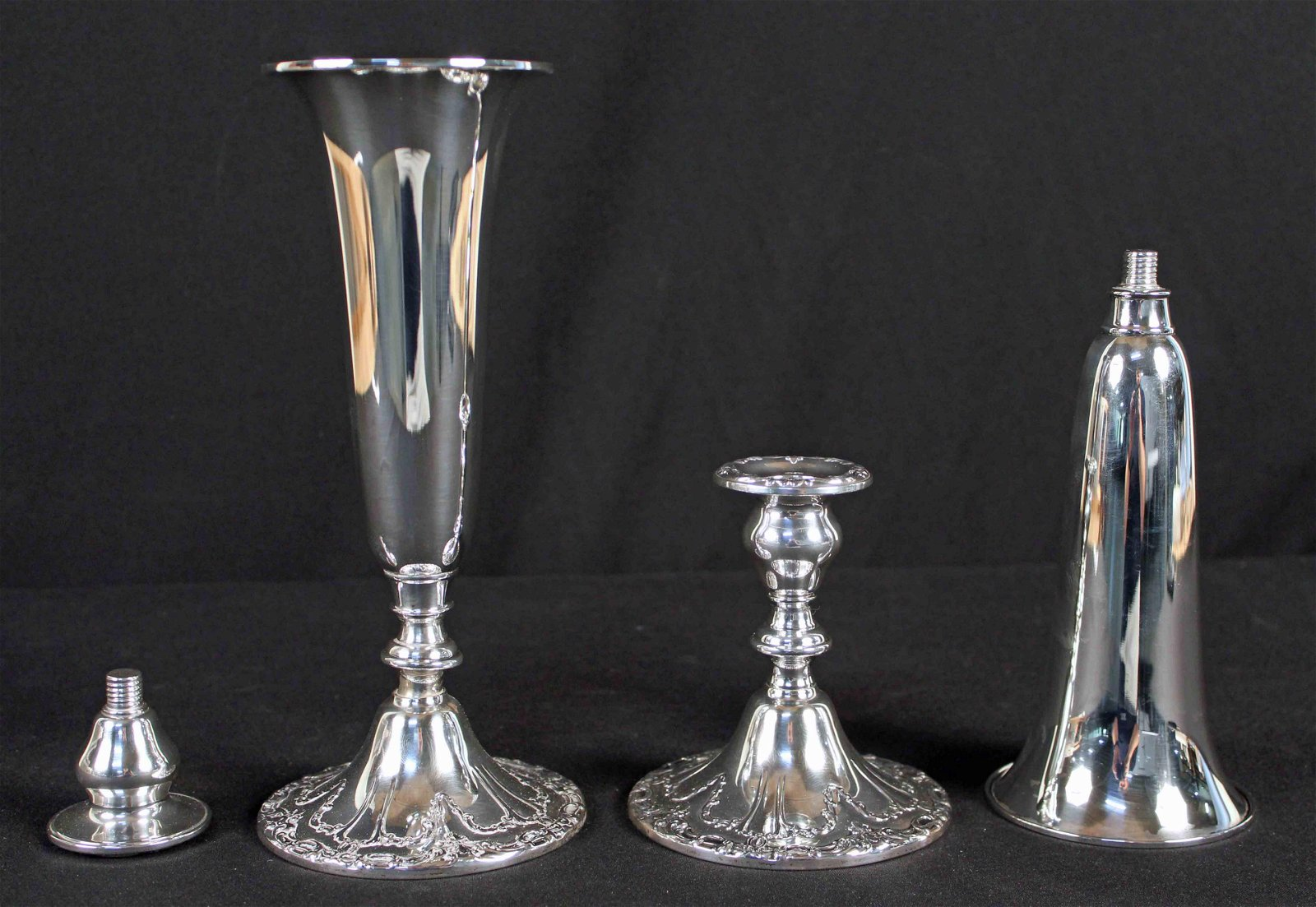 Two Gorham Chantilly Sterling Silver Trumpet Vases