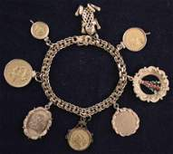 14kt Gold Charm Bracelet w/ U.S. Gold Coins