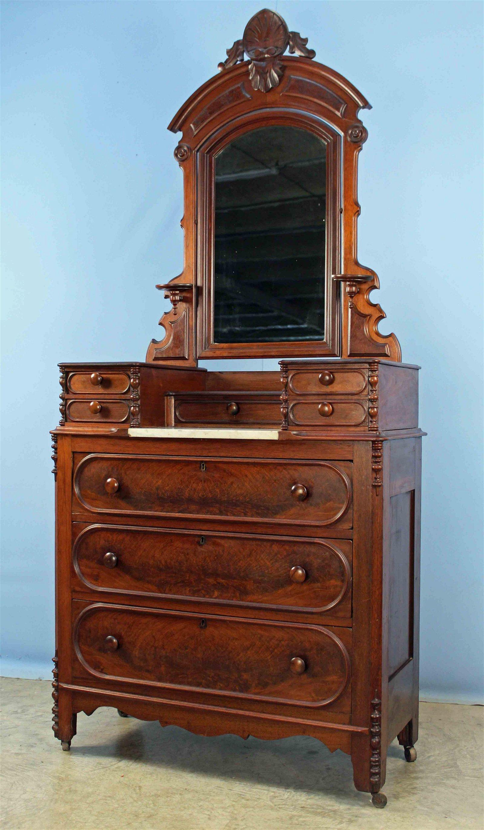 C. 1875 Walnut and Crotch Mahogany Dresser