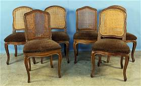 Six Louis XV Style Dining Chairs with Cane Backs