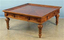 Large Cherry Coffee Table w Banded Inlaid Top