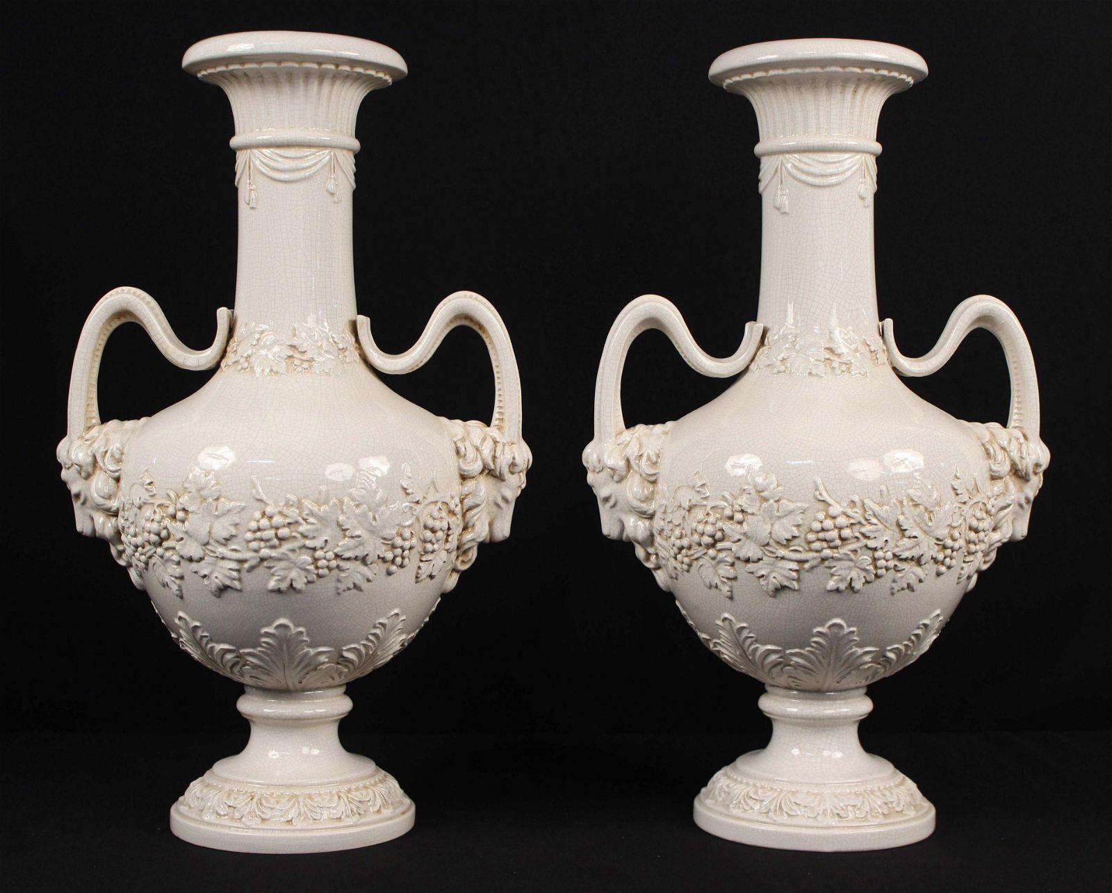 Pair of Italian Ceramic Urns w/ Ram Head Handles
