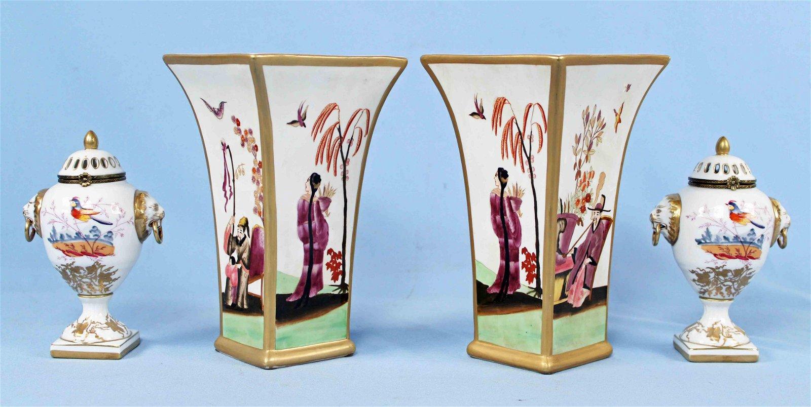 Chelsea House Porcelain 2 Vases & 2 Urns