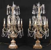 Pair of French 18th C. Style Candelabras w/ Prisms