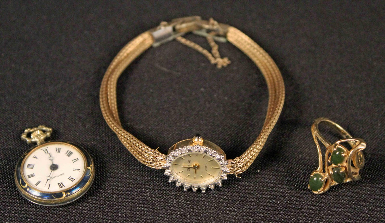 14 K Yellow Gold Wristwatch, Ring w/ Jade & Watch