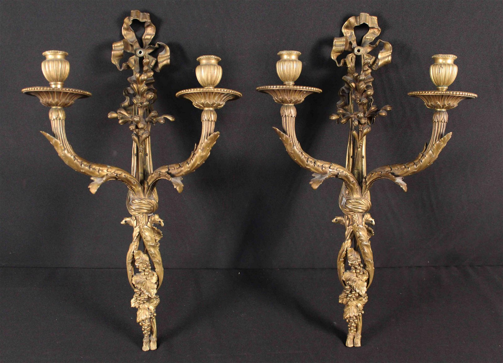 Pair French Bronze Wall Sconces w/ Grape Clusters