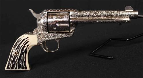1897 Colt SAA  Engraved Nickel 45 Cal. Revolver