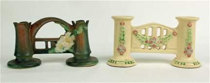 Roseville La Rose Candle Holder & White Rose Vase