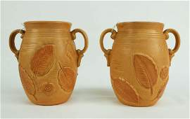 Pair Weller Pottery Leaf and Flower Handled Vases