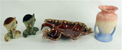 Four Pieces of Assorted Hull Art Pottery