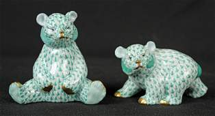 2 Herend Bears w Green Fishnet  24 Kt Accents