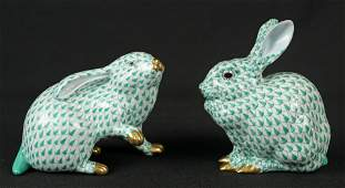 Two Herend Rabbit Porcelain Figurines in Green
