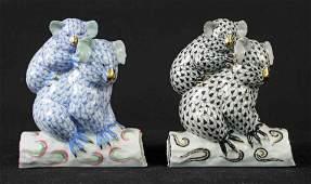 Two Herend Porcelain Koala Bears Blue  Black