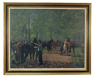 Peter Howell (British, b. 1932) Saddling Keeneland