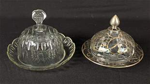 Silver Overlay and Clear Crystal Butter Dishes