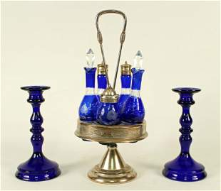 Cobalt Blue Castor Set & Pair Candle Holders