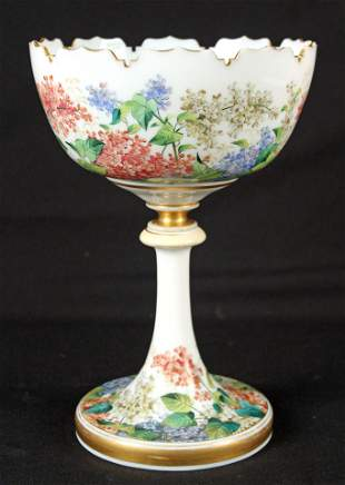 French Hand Painted Opal Glass Compote