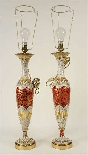 Pair of Bohemian Cranberry Glass Vases