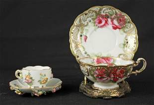 Meissen and Hand Painted Nippon Cups & Saucers