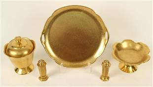 Five Pieces of Pickard 24kt Gold Plated China