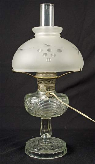 Aladdin Beehive Lamp w/ Satin Glass Shade