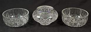 3 Leaded Crystal Bowls Including Stuart Rose