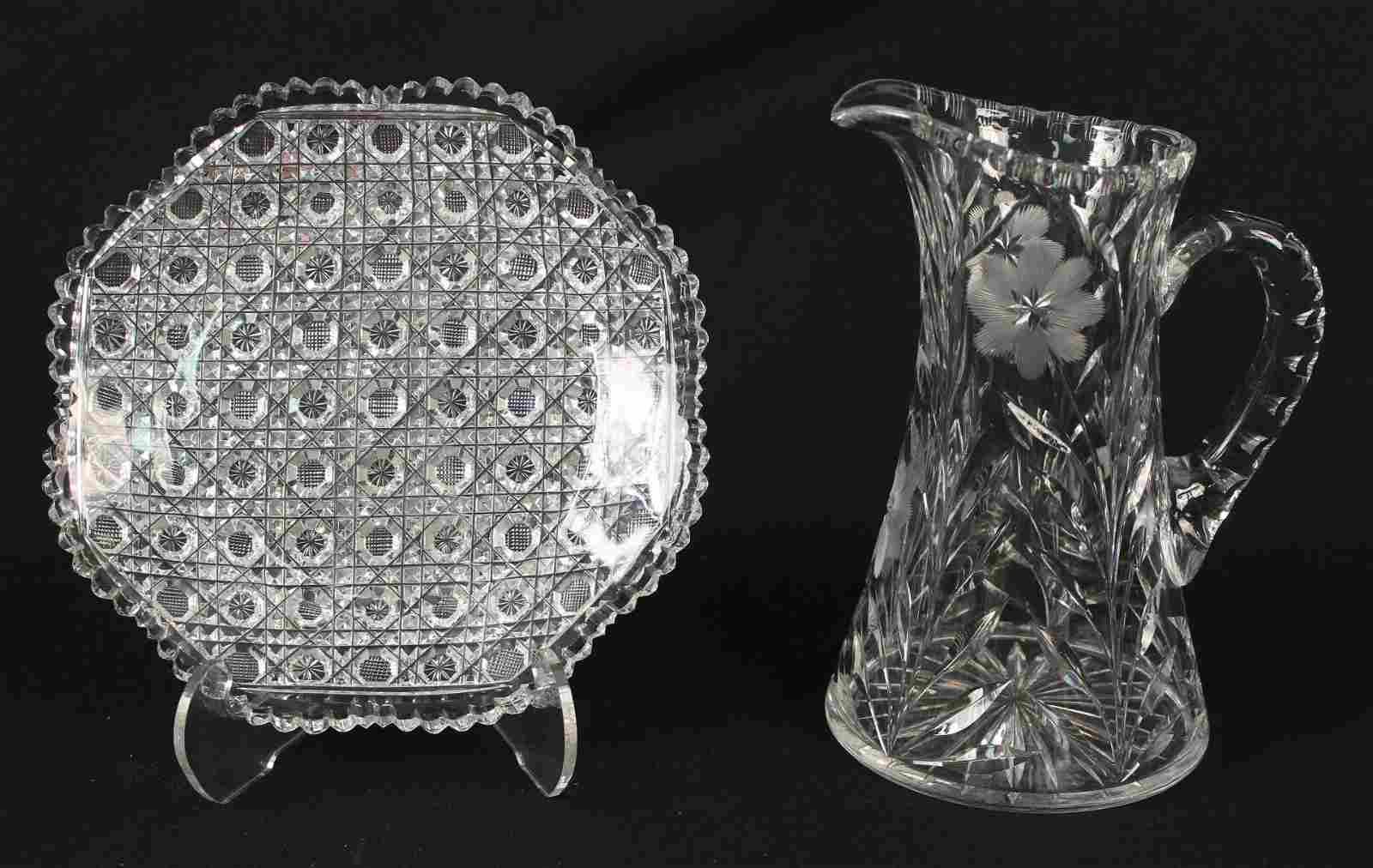 """ABCG 9"""" Cut Glass Plate and Cut Glass Pitcher"""